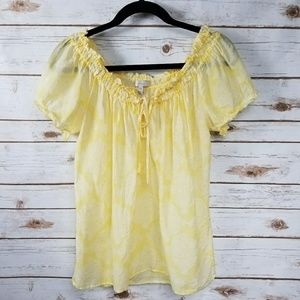 Joie yellow silk blend peasant top